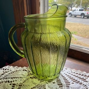 Anchor Hocking Sprucewood Avocado Green Pitcher